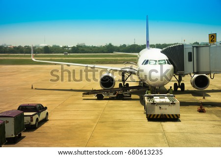 May 29, 2017: Thai Airways plane waiting for passengers at Udon Thani Airport.
