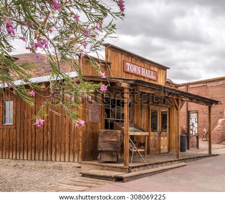 MAY 23. 2015- Town hall in Calico, CA, USA: Calico is a ghost town in San Bernardino County, California, United States. Was founded in 1881 as a silver mining town. Now it is a county park. - stock photo