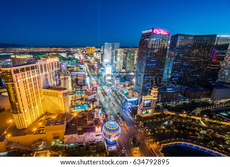 May 4 2017 :  View of evening Las Vegas Strip Skyline from Eiffel Tower : Las Vegas Nevada USA