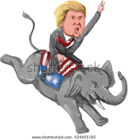 MAY 23, 2016:Watercolor illustration of  American politician and Republican 2016 presidential candidate Donald John Trump ridIng an elephant mascot done in watercolor cartoon style.