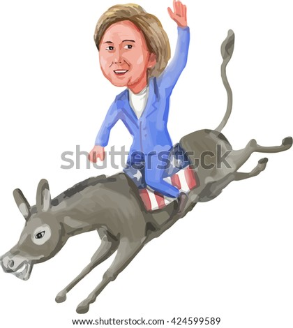 MAY 23, 2016:Watercolor illustration of Democrat presidential candidate Hillary Clinton riding her donkey mascot on isolated background done in caricature cartoon style.