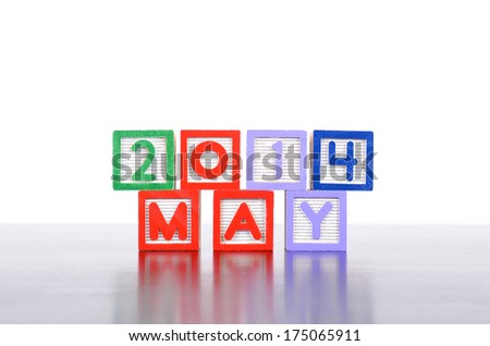 May 2014 word formed by wood alphabet blocks