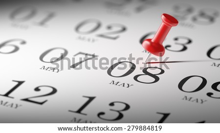 May 08 written on a calendar to remind you an important appointment. - stock photo