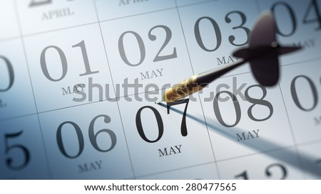 May 07 written on a calendar to remind you an important appointment.