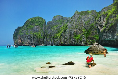 Maya bay of Phi-Phi island,Krabi,Thailand - stock photo