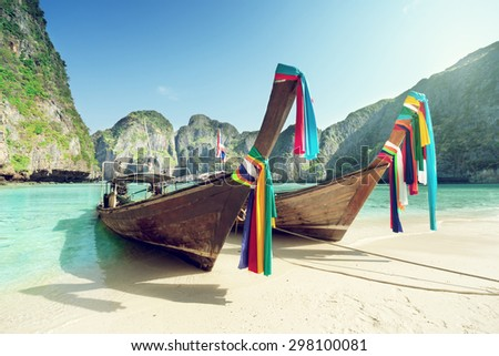 Maya bay Phi Phi Leh island, Thailand - stock photo