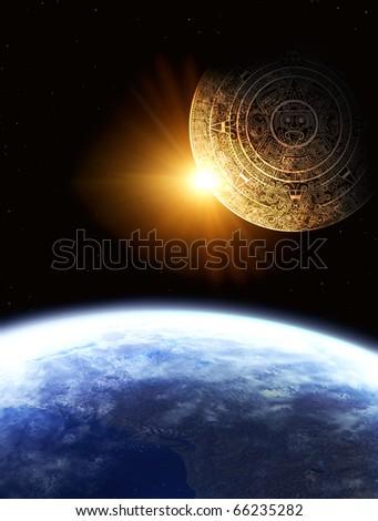 Maya calendar and Earth - stock photo