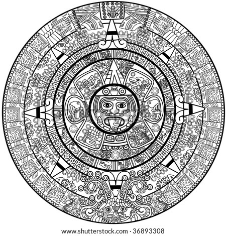 Maya calendar illustration - over white - stock photo