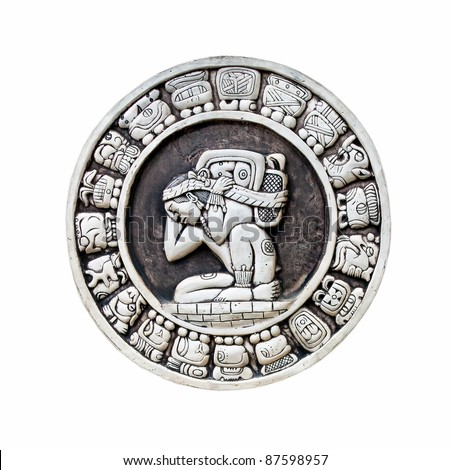 Maya calendar isolated - over white - stock photo