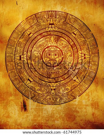 Maya calendar on ancient wall - stock photo