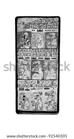 "Maya Manuscript. Engraving on steel by Shpeer. Published in literary magazine ""Niva"", ""Publishing house of A.F. Marx», Saint-Petersburg, Russia, 1893. - stock photo"