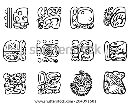 Maya patterns made on the basis of reliefs and sculptures. Human faces, birds, fish and animals. Elements of floral ornament. Outline drawings. - stock photo