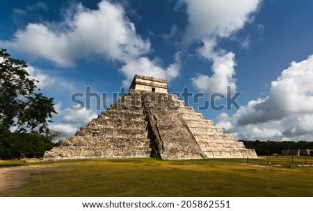 Maya Pyramid, Chichen-Itza, Mexico - stock photo