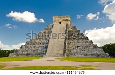 Maya pyramid. Historical ruins of ancient civilization of Maya. Tulum, Mexico. - stock photo