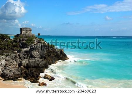 Maya runins at Tulum, Cancun - stock photo