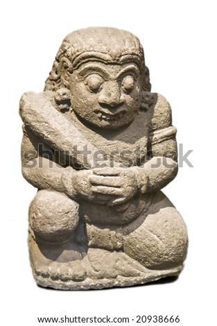 Maya statue isolated on white - stock photo