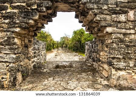 Mayan arch at San grevasio - stock photo
