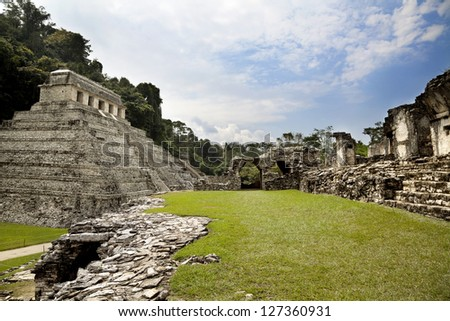Mayan archaeological site of Palenque - stock photo
