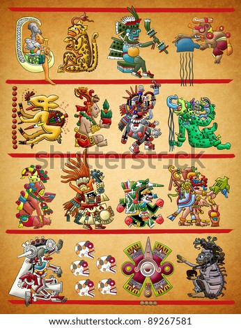 Mayan - Aztec codex illustration - stock photo