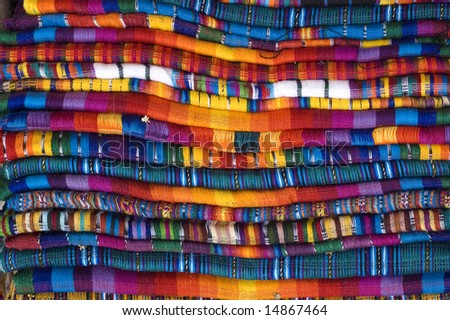 Mayan Blankets for sale stacked - stock photo