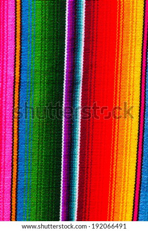 Mayan blankets textile designs on the market in Chichicastenango, Guatemala, Central America - stock photo