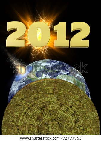 Mayan Calendar 2012.  A golden Mayan calendar eclipsing the Earth which is being hit by an asteroid. - stock photo