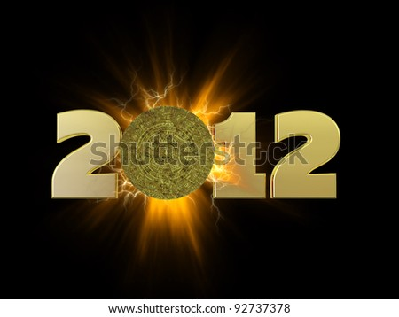 Mayan Calendar 2012.  A golden Mayan calendar tablet in front of an explosion.