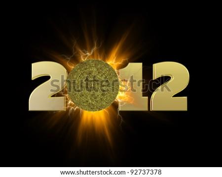 Mayan Calendar 2012.  A golden Mayan calendar tablet in front of an explosion. - stock photo