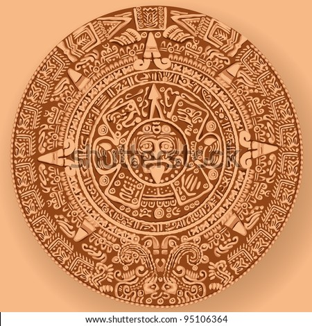 Mayan calendar. Copy of the raster - stock photo
