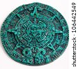Mayan Calendar Green Stone - stock photo