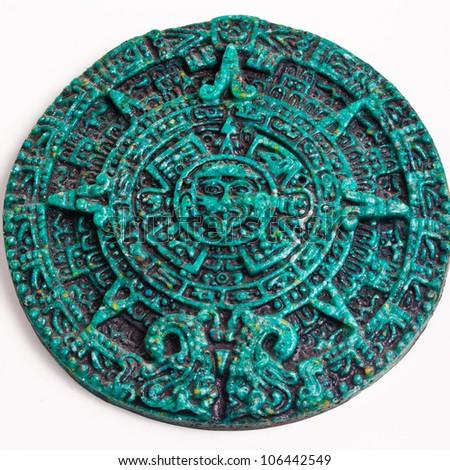 Mayan Calendar Green Stone - stock photo