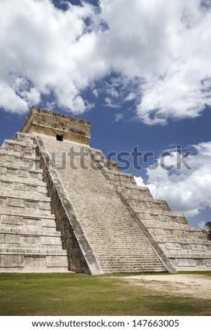 Mayan civilization, great pyramid in Chichen Itza - stock photo
