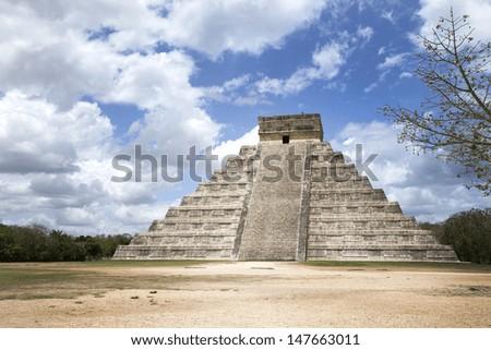 Mayan civilization great pyramid in Chichen Itza Mexico - stock photo