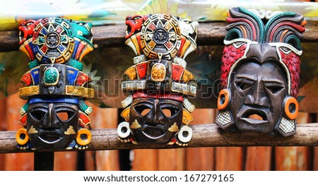 Mayan Colorful Wooden Masks  - stock photo