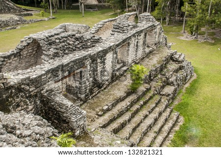 Mayan false arch in Kohunlich, Quintana Roo, Mexico - stock photo