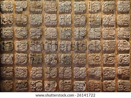 Mayan hieroglyphs - stock photo