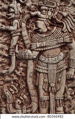 Mayan Indian Warrior - stock photo