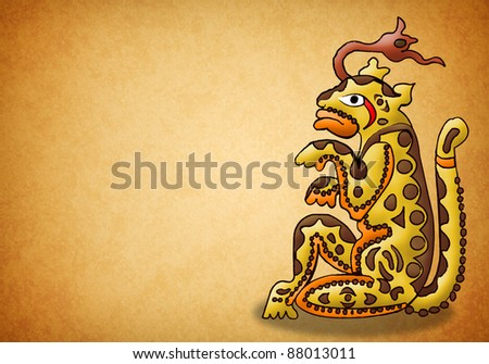 Mayan jaguar deity - balam - prophecy - stock photo
