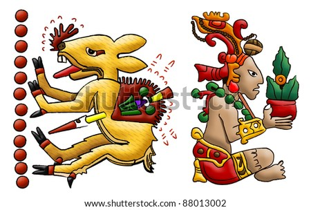 Mayan lord of woods and toltec deer isolated on white - stock photo