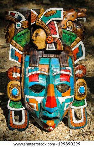 Stock Photo Mayan Mask on Aztec Indian Dancers