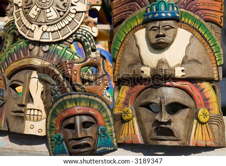 Mayan Masks - stock photo