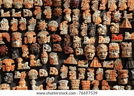 Mayan Mexico wood handcrafts in jungle Yucatan - stock photo