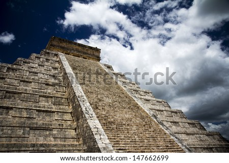 Mayan monument, pyramid in Mexico - stock photo