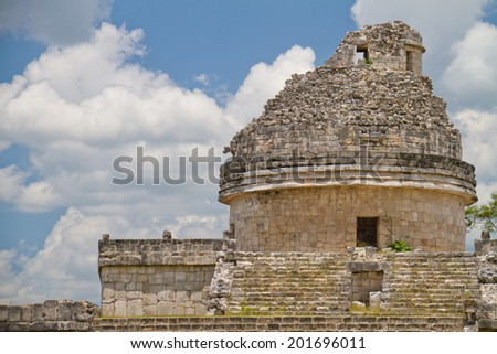 Mayan observatory at Chichen Itza, Mexico - stock photo