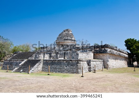 Mayan observatory ruin at Chichen Itza, Yucatan, Mexico. El Caracol (the snail) - stock photo