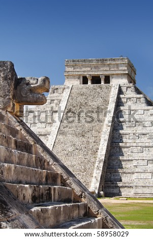 Mayan pyramid and temple, Chichen Itza, Mexico. - stock photo