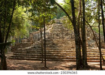 Mayan pyramid at jungles . Coba. Mexico  - stock photo