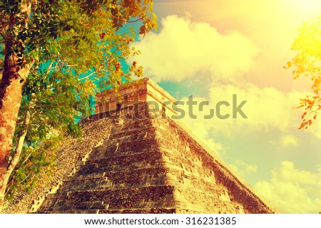 Mayan Pyramid Chichen Itza, Mexico. Ancient Mexican tourist attraction. Maya civilization. Vintage style - stock photo