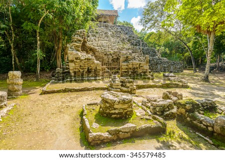 Mayan Pyramid in Coba. Mexico. - stock photo