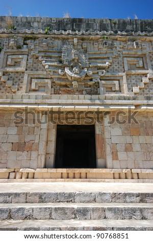 Mayan pyramid in Uxmal - Mexico - stock photo